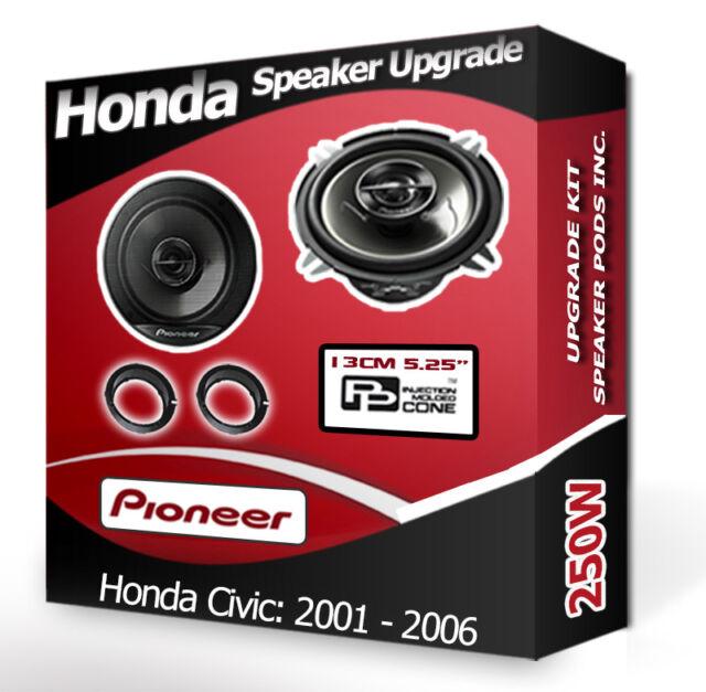 Honda Civic Front Door Speaker Pioneer car speakers + adapter rings 250W
