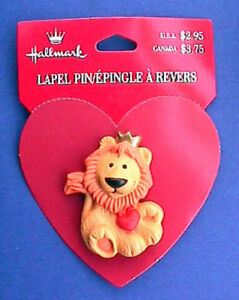 Hallmark-PIN-Valentines-Vintage-LION-HEART-Gold-CROWN-Holiday-Brooch-NEW
