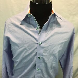Robert-Graham-Long-Sleeve-Button-Front-Casual-Shirt-Large-Blue-Micro-Checks-J9