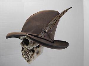 wizard black leather hat pirate feather costume cosplay reenactment  medieval