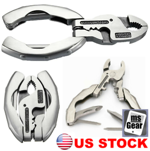 9 in 1 Mini Multi tool Stainless Steel Pliers Screwdriver Bottle Opener Keychain