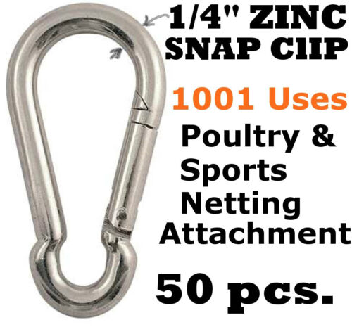 "Carabiner Snap Clips 50 pcs 1//4/"" Zinc D-ring Snap Hook Lock Clip Netting Batting"