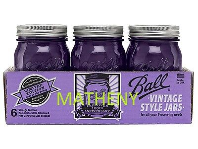 18 Ball Purple Jars Pint~16oz & 4 - 8pk Wide Plastic Lids & 10 - 2pk Shaker Lids