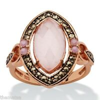 Womens Rose Gold Pink Marquise Cat's Eye Black Marcasite Ring Size 6 7 8 9 10
