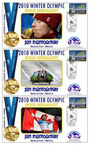 JON MONTGOMERY 2010 OLYMPIC SKELETON SET OF GOLD COVERS