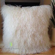 NATURAL WHITE 40*40CM GENUINE MONGOLIAN SHEEPSKIN LAMB WOOL FUR CUSHION COVER
