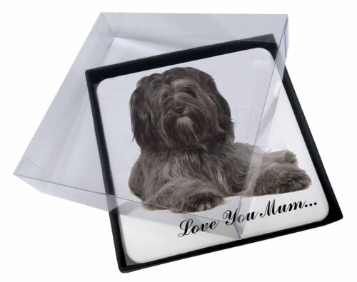 4x Tibetan Terrier 'Love You Mum' Picture Table Coasters Set in Gift, ADTT2lymC