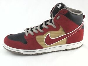 NIKE SB High Top Shoes Red Gold Black 305050-701 Sneakers Men s US ... 04a4475b751