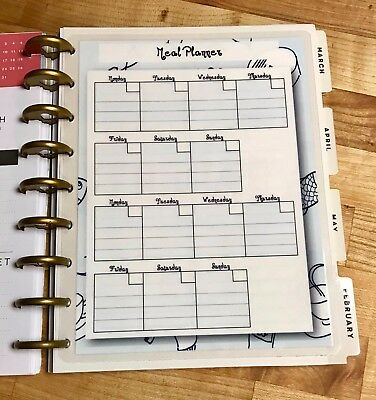 Weekly Meal Planner 2 Sided Dashboard Insert for use with HAPPY Planner