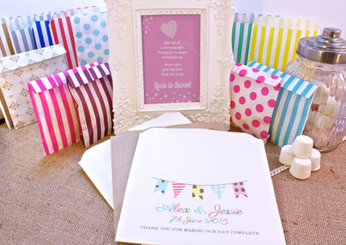 Personalised Wedding Sweet Bags SHABBY CHIC VINTAGE BUNTING Candy Cart Wedding F