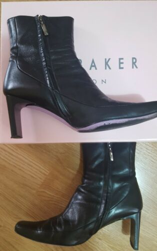 7 Uk Zip Ankle Eur Boot Size Baker Bread Up Ted Cuban Black Leather 40 Heel x7fgYqww
