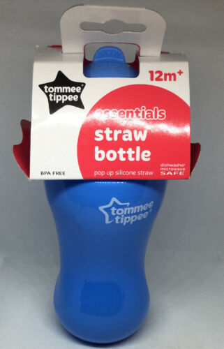 Blue Tommee Tippee Essentials Straw Bottle 12mth+ BPA FREE 300ml Brand New