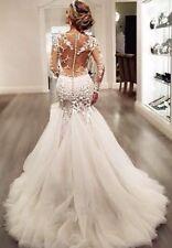 Gauze Scoop Neck Long Sleeve Lace Appliqués Court Train Mermaid Wedding Dress