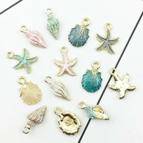 50pcs Marine life Starfish Shell Conch Charms Drop Pendant Jewelry Accessories