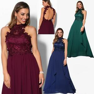 Women-Lace-Halterneck-Maxi-Dress-Long-Evening-Cocktail-Ball-Gown-Formal-Party