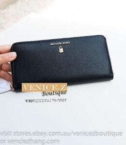 BNWT-RRP-239-MICHAEL-KORS-ZA-Continental-Leather-Wallet-Clutch-Purse-Black
