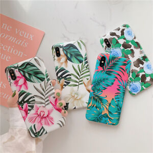 For-iPhone-XS-MAX-XR-X-7-8-Plus-Cases-Elegant-Floral-Leaf-Plant-Soft-Phone-Cover