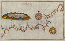 Mapa antiguo de la costa Andalucía y Granada España, volver a imprimir 7x4 pulgadas