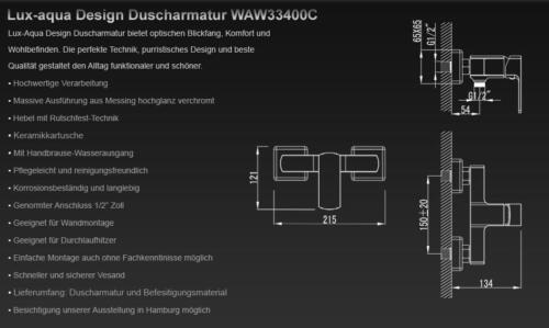 Duscharmatur Brausearmatur Einhandmischer Wandmischbatterie Wandarmatur Chrom WA