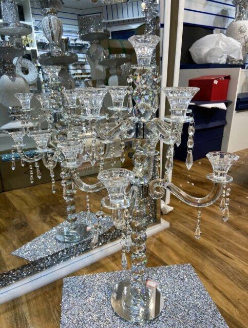 Wholesale 5 Arm Crystal Candelabra Wedding Centrepiece Votive Candle Holders 4pc For Sale Ebay