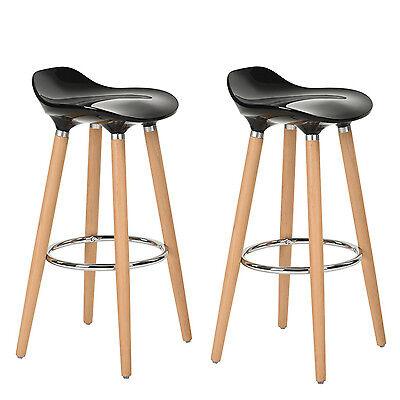 Lot de 2 Tabourets de Bar Cuisine Scandinaves Chaise de Bar Haute Noir Plastique