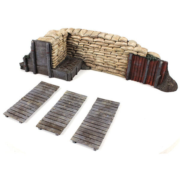 W Britain 51041 - WWI WWII Trench Section with Duckboards - 4 Piece Set