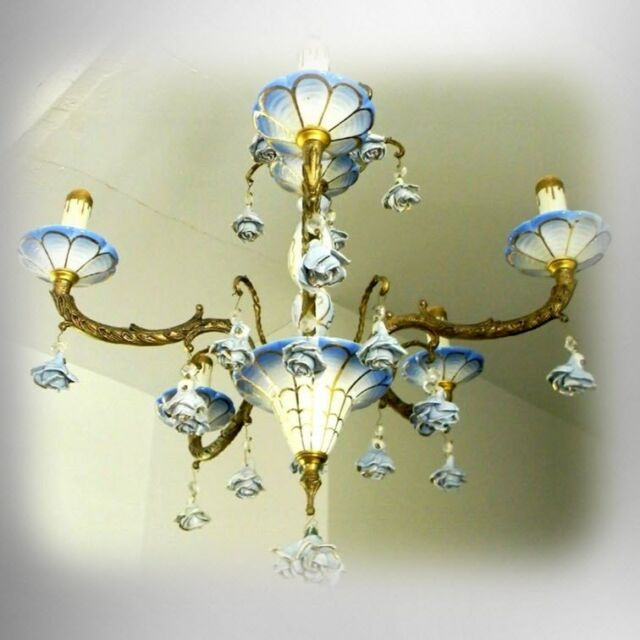 Venetian Murano art glass chandelier w blue and white glass - gold  FREE SHIP