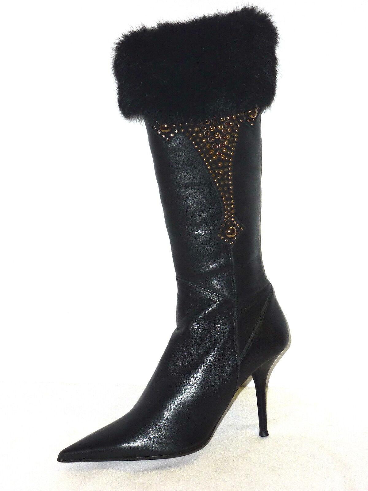 Grandes zapatos con descuento LORIBLU STIVALI DONNA PELLE NERO INTERNO MONTONE SCARPE TACCHI ALTI SWAROVSKY 38