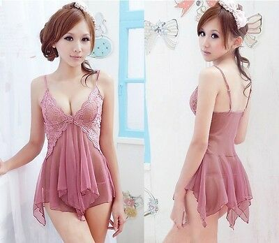 Women Hot Sexy Babydoll Lingerie Nightgown Sleepwear Set Babydoll Dress+G-string