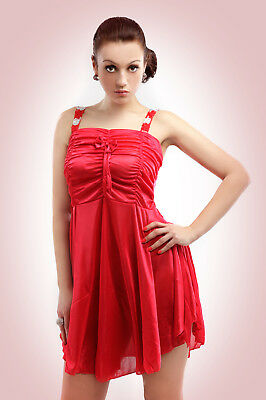 Valentines Gift Womens Silky Lingerie underwear Nighty Robes Gown 10-14 Xmas