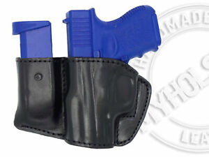 Holster-and-Mag-Pouch-Combo-OWB-Leather-Belt-Holster-Fits-S-amp-W-M-amp-P-Shield-9-40