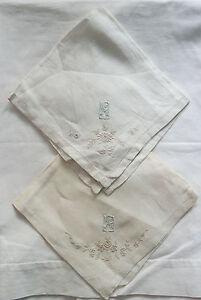 Lot-de-deux-mouchoirs-anciens-brodes-serviette-a-the-pochette