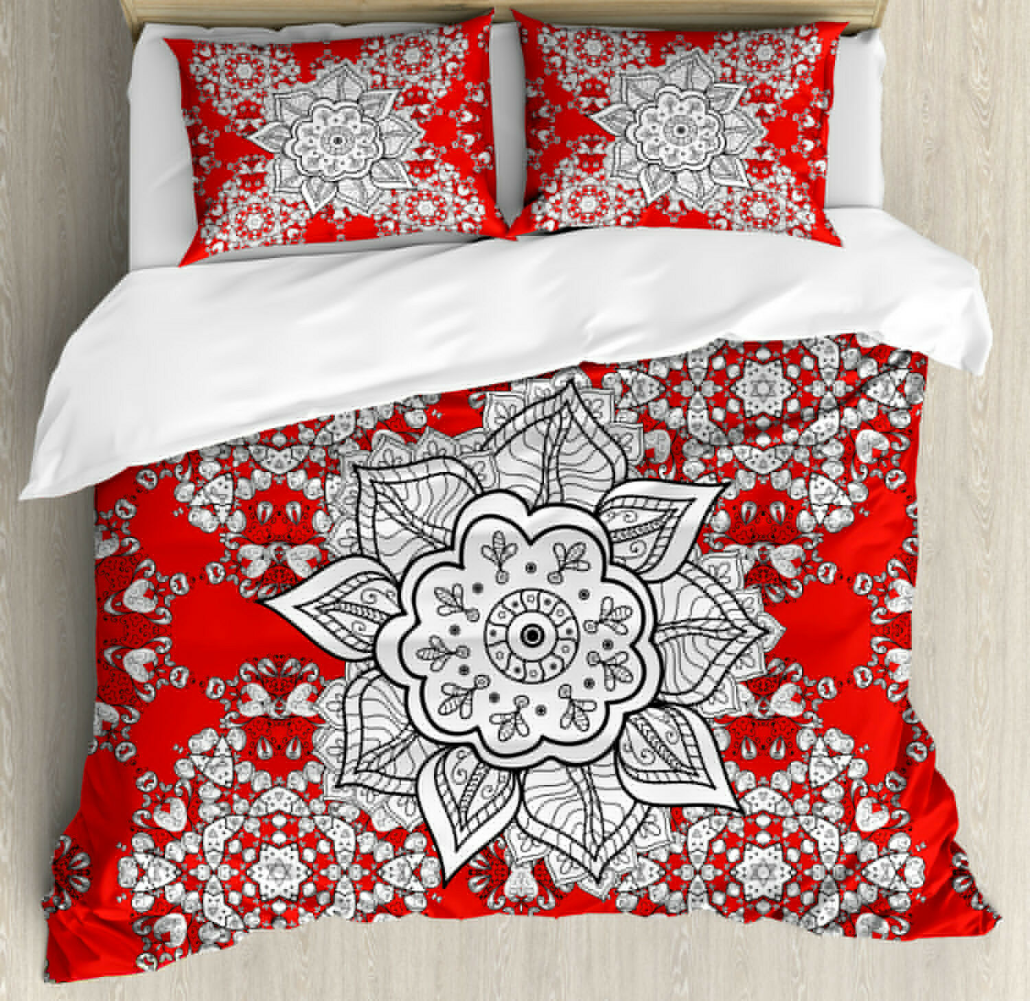 Red Mandala Duvet Cover Set with Pillow Shams Ethnic Doodle Print