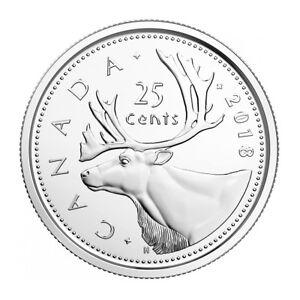 2018 CANADA 25 CENTS BRILLIANT UNCIRCULATED QUARTER COIN