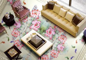 3D Tile pink flower 253 Floor WallPaper Murals Wall Print Decal 5D AJ WALLPAPER