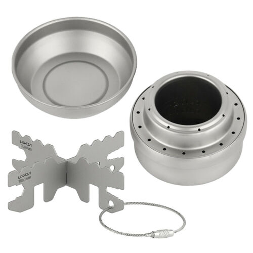 Details about  /Camping Titanium Alcohol Stove Outdoor Portable Cooking Burner w//Lid Cross Stand