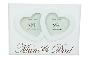 Mum-and-Dad-Photo-Frame-Twin-Heart-Picture-Cream-Wooden-Anniversary-Gift-F1217G