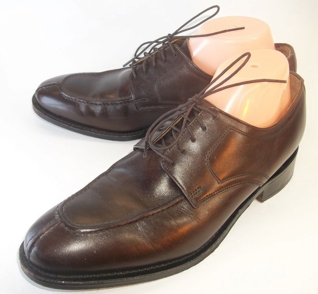 Johnston Murphy Mens shoes Oxfords US 8 M Brown Leather Lace-Up Moc Toe Dress