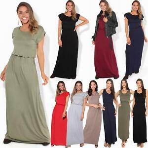 Femmes-Maxi-Robe-Ete-Fluide-Uni-Classique-Boheme-Plage-Vacances-Mode-Longue