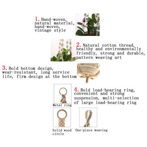 1Pot Holder Macrame Plant Hanger Hanging Planter Basket Jute Braided Rope Cra TI