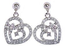 Swarovski Elements Crystal Heart In Heart Pierced Earrings Rhodium Plated 7103y