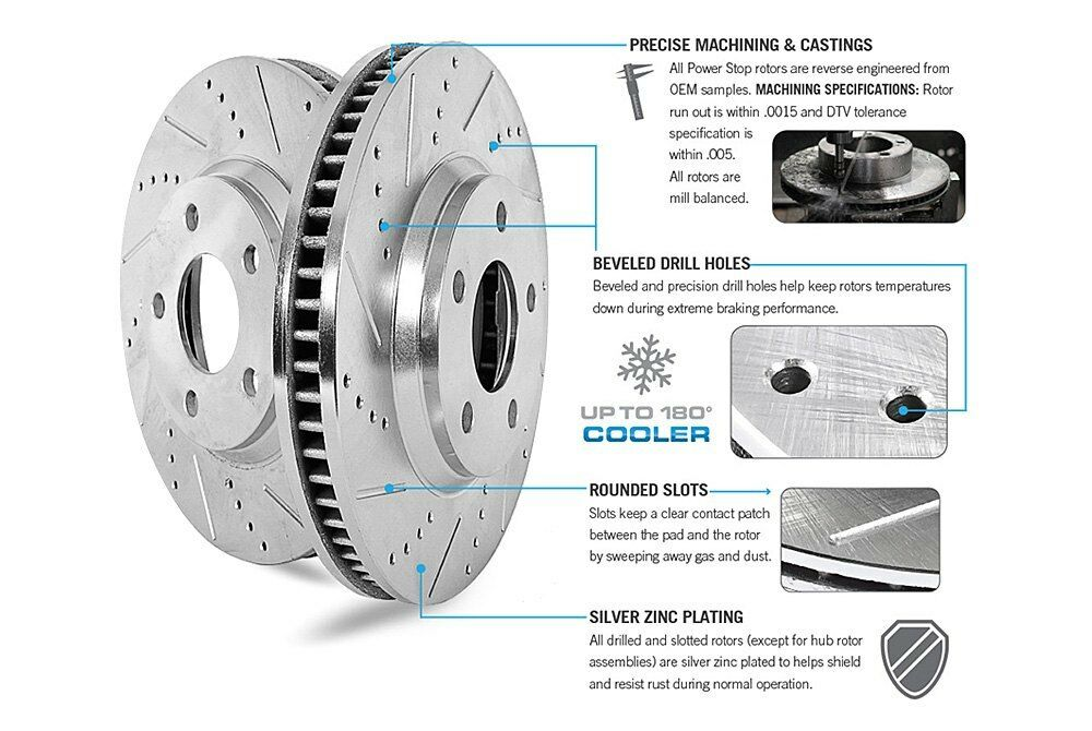 Power Stop EBR843XPR Front Evolution Drilled /& Slotted Rotor Pair