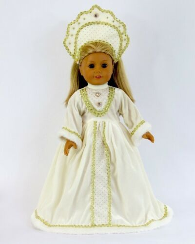 """Doll Clothes 18/"""" Dress White Russian Headpiece Fits American Girl Doll"""