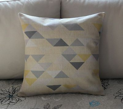 Grey Yellow Geometry Triangle Cotton Linen Cushion Cover Throw Pillow Decor 2455