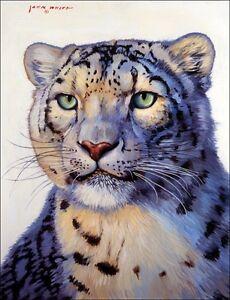 Ceramic-Accent-amp-Decor-Tile-White-Snow-Leopard-Cat-Animal-Wildlife-Art-JWA022AT