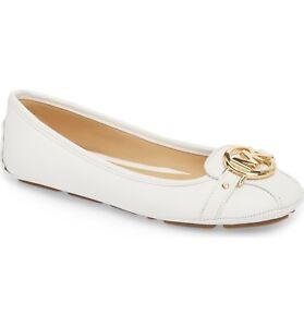 a6e7e8233c959 Details about Michael Kors MK Women's Premium Designer Fulton Moccasin  Flats Optic White