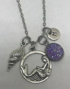 Ocean Charm 925 Mermaid Round Mermaid Swimming Mermaid 1 Etched Sterling Mermaid Charm