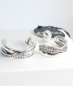 NEW-TAGS-AUTHENTIC-PANDORA-SILVER-EARRINGS-ENTWINED-HOOPS-290730CZ-POUCH