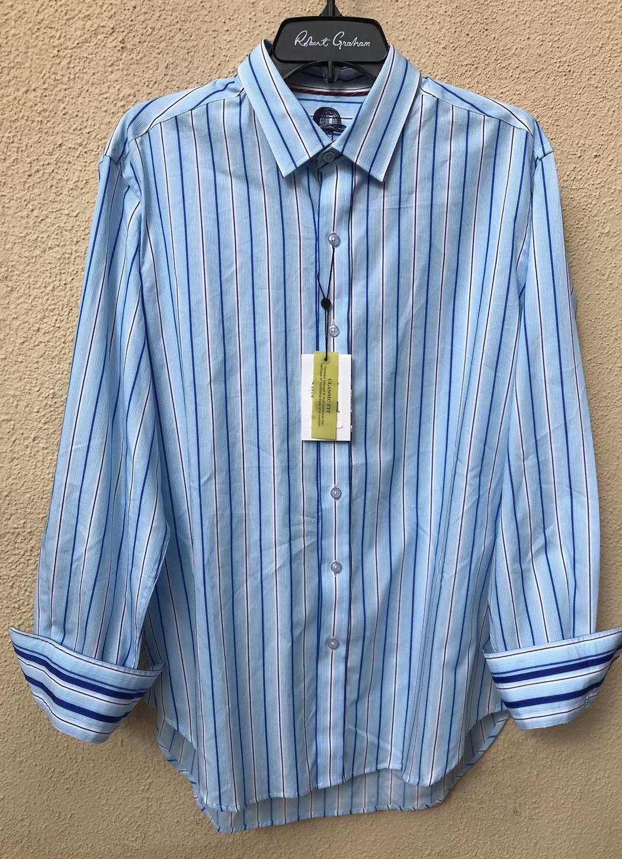 ROBERT GRAHAM Men's Stripes Multicolor 100% Cotton Casual Shirt,Sz M.