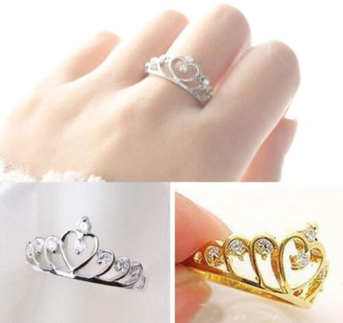 NEW Crown Silver Gold Ring Princess Prince Band Love Heart Wrap Jewelry Fashion
